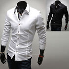 Mens Slim Fit Layered Collar Solid Business Casual Dress Shirts W089 - XS/S/M