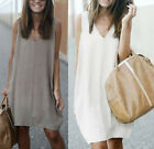 Summer Womens Casual tops Tee shirt V neck Sleeveless Mini Party Beach Dress hot
