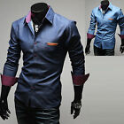 Mens Long Sleeve Slim Fit Check Business Casual Dress Shirts Top W293 - XS/S/M