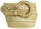 "Wide GOLD  Braided Belt for Women Leather 3"" New Cinch fashion Dress Casual"