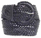 "Wide Black Braided Belt for Women Leather 3"" Cinch New Fashion Dress Casual new"