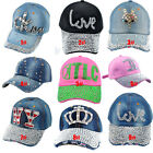 Fashion Rhinestone Baseball Cap Bling Visor Denim Adjustable Tennis Hats 9Colors