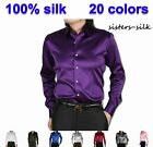 Men's 19 Momme 100% Silk Long Sleeve Formal Business Work Shirts Size XS-3XL