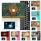 "3in1 Wood Rubberized Hard Case Cover For Macbook Pro Air 11"" 12 13"" 15 Touch Bar"