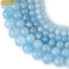 "Natural Stone Round Aquamarine Gemstone Beads For Jewelry Making 15"" Blue"