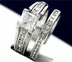Sterling Silver 1.24 carat Solitaire CZ Engagement Wedding Bridal Band Ring Set