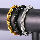 Stainless Steel 18K Gold Plated Rope Chain Bracelets  3MM 6MM 9MM Mens Jewelry