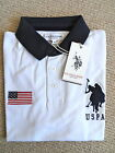 S M L XL Official US POLO ASSN. POLO SHIRT jersey WHITE / NAVY Mens New Tags