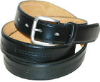 Men's Leather Dress Belt Polo Style with Center Stitch  Black or Brown