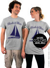 Boats and Hoes - Gray Unisex T-Shirt with Navy Blue Ink - Boats n Hoes Tee Shirt