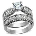Round Cut CZ Stainless Steel Wedding Engagement Band Women's Retro Ring Set