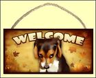 """The Guilty Dog"" Beagle 10"" x 5"" Wooden Fall Welcome Dog Sign art by S Rogers"