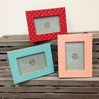 *Vintage Wooden Wood Polka Dot Photo Photograph Picture 4 x 6 Frame Home Gift*
