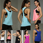UK Summer Women Sexy Loose Gym Sport Vest Training Running Tank Tops Yoga Blouse