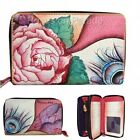 ANUSCHKA LEATHER ~ROSY REVERIE~ TWIN TOP ORGANIZER ZIPPERED WALLET NWT