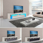 Modern TV Cabinet Unit Gloss Solid Wood 189cm Wide TV Stand FREE LED RGB Lights