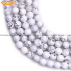 """Natural Stone White Howlite Quartz Stone Beads For Jewelry Making 15"""" Faceted"""