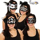 Ladies Harlequin Jester Clown Masquerade Rose Eyemask Fancy Dress Costume Mask