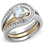 Women New Stainless Steel AAA CZ 2-Piece Wedding Ring Enhancer Set Sizes 5-10