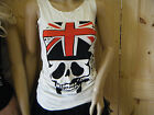LONGLINE GOTH BIKERS SPLIFF SMOKING UNION JACK SKULL LADIES TOP BLOUSE TSHIRT UK