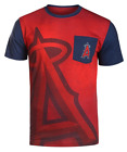 KLEW MLB Men's Los Angeles Angels 2016 Cotton Poly Pocket Logo Tee T-shirt, Red