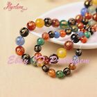 """8-12mm Round Carved Multicolor Mantra Tibetan Agate Gemstone Spacer Beads 15"""""""