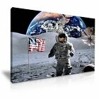 NASA Astronaut Apollo 17 Cernan on Moon Picture Print Stretched Canvas
