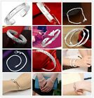 Women Multi Style Solid Silver Plated Beads String Chain Bracelet Bangle