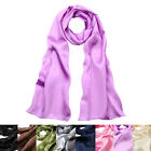 Elegant Silk Feel Solid Color Satin Oblong Scarf Wrap - Different Colors