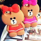 Cute Cartoon Hot 3D Bow Bear sister Rubber soft Case Cover for iPhone 6 6S Plus