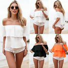 Fashion Women Strapless  Ruffled Top Party Off the Shoulder Blouse Loose T-Shirt