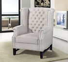 NEW ANDREA TAUPE OR CHARCOAL GREY LINEN FABRIC HIGH TUFTED BACK ACCENT CHAIR