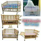 Solid Pine WOOD BABY BED, CHILD CLASSIC Wooden COT BED Nursery Decoration