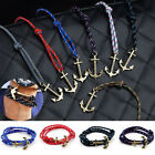 Multilayer Leather Rope Anchor Wristband Handmade Bangle Bracelet For Women Men