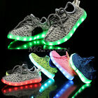 New LED Light Up Child Kids Boys Girls Knitted Trainers Luminous Sneakers Shoes