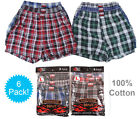 6 Mens Plaid Boxer Shorts 100 Cotton Underwear Lot Pack Small Medium Large XL