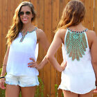 Sexy Casual Women Backless Floral Sleeveless Top Vest Tank Cami Blouse T-Shirt W