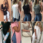 Summer Women Stylish T-shirt Solid Vest Top High Low Tee Shirt Loose Slit Blouse