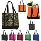 CANVAS TOTE BAG, CARRY ALL, REUSABLE, CAMO, SOLID, NEON, WEB HANDLES, GROCERY