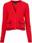 Topshop Tip Pocket Contrast PIPE Cotton Knit High School Chic Classic Cardigan