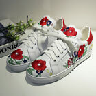 Womens Lace Up Sneakers Sports Casual Flat Fashion Leather Floral Shoes 5-8 New