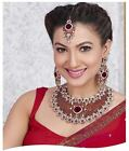 Indian Bollywood Style Fashion Gold Plated Bridal Jewelry Necklace Set, Style 19