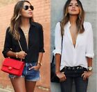 Sexy Womens V-neck cotton Long Sleeve Casual Blouse Loose Tops T-Shirt plus size