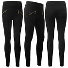 Womens Ladies Fleece Legging High Waist Thermal Lined Thick Zip Pants 8-10
