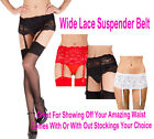 Silky Deep Wide Lace Suspender Belt Black Red White With Or With Out Stockings