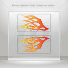 Decals Sticker Coloured Pair Of Flames Helmet Motorbike Bike Garage mtv RS757