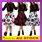 50s Vintage Rockabilly High Waisted Swing Midi Retro Petticoat Dance Skirt Dress