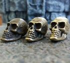 SKULL BEADS COLLECTIBLE BRONZE PARACORD LEATHER LANYARD BEAD HAND-CAST METAL !!