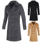 Mens Slim Stylish Trench Coat Formal Double Breasted Overcoat Long Jacket S-XL