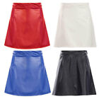 NewLadies Womens  GirlsFaux Leather  A Line Mini Skirt UK Size 8-14